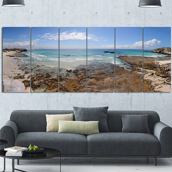 Designart The Rocks And Beach Panorama Seashore Canvas Art Print - 7 Panels