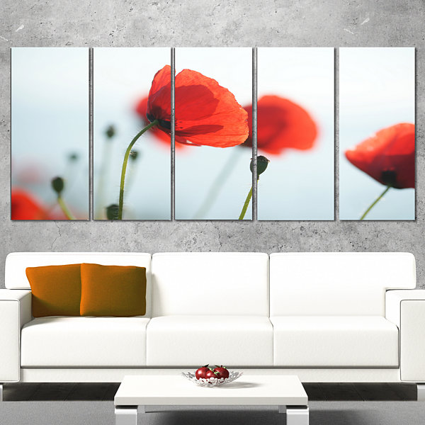 Designart Poppies On Background Of Sea Floral Canvas Art Print - 5 Panels