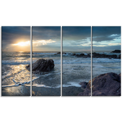 Designart Sharrow Beach In Cornwall Seashore Canvas Art Print - 4 Panels