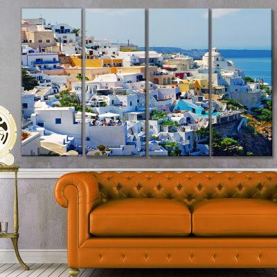Designart View Of Fira Town Santorini Abstract Wall Art Canvas - 4 Panels
