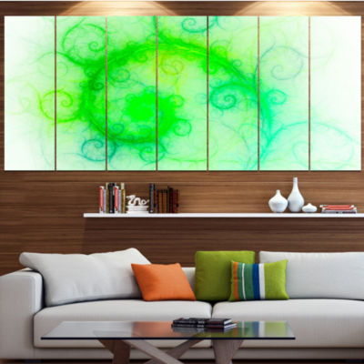 Designart Beautiful Bright Green Pattern AbstractWall Art Canvas - 5 Panels
