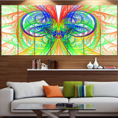 Designart Extraordinary Fractal Green Design Abstract Canvas Art Print - 6 Panels
