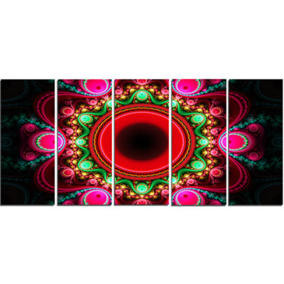Designart Pink Wavy Curves And Circles Abstract Canvas Art Print - 5 Panels