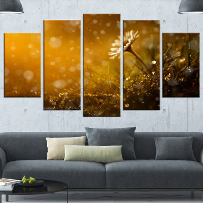 Designart Forest After Rain During Sunset Large Floral Wrapped Canvas Art Print - 5 Panels