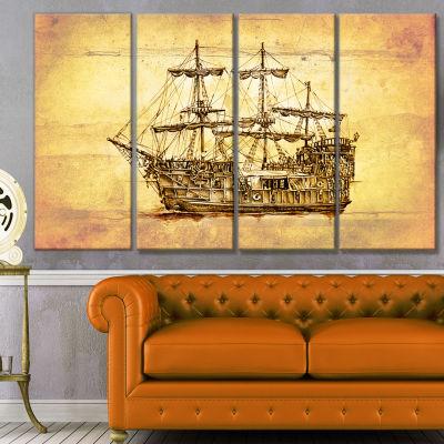 Designart Brown Ancient Moving Boat Seashore WallArt On Canvas - 4 Panels