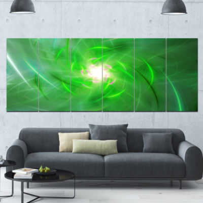 Light Green Fractal Whirlpool Abstract Wall Art Canvas - 6 Panels