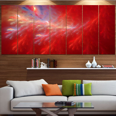 Designart Mystic Red Thunder Sky Abstract CanvasArt Print -4 Panels