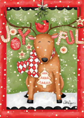 LANG Joyful Reindeer Large Flag