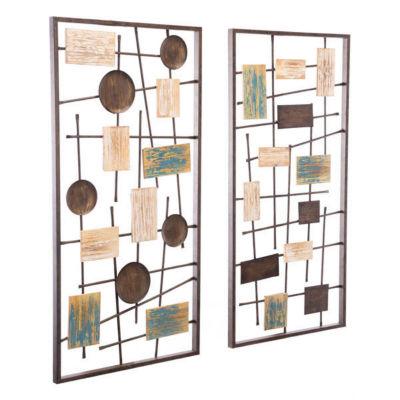 Abstract Set Of 2 Metal Wall Art