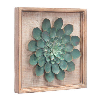 Green Star Succulent Metal Wall Art
