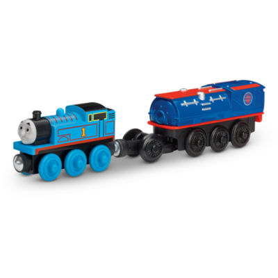Fisher-Price Thomas & Friends Wooden Railway Battery-Operated Thomas with Booster Steam Car