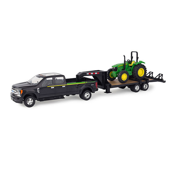 Ertl Ford Pickup With Gooseneck Trailer And John Deere Tractor