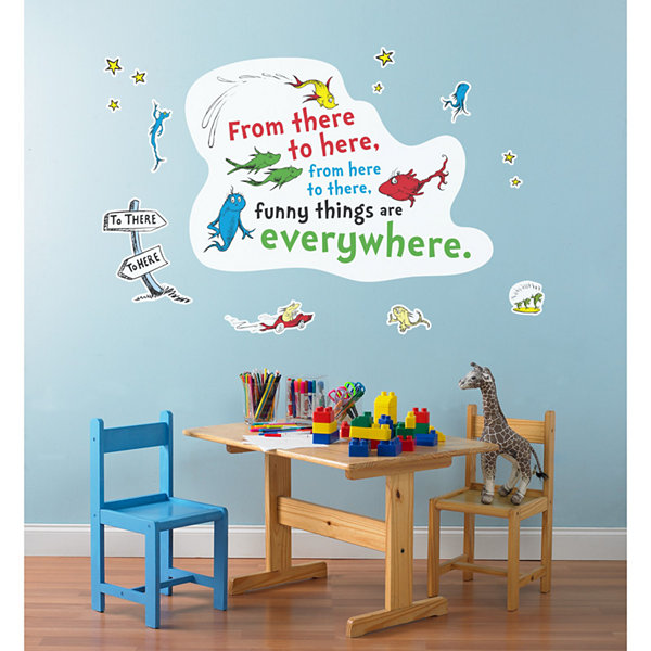 Dr. Seuss One Fish Two Fish Inspirational Quote Giant Wall Decal