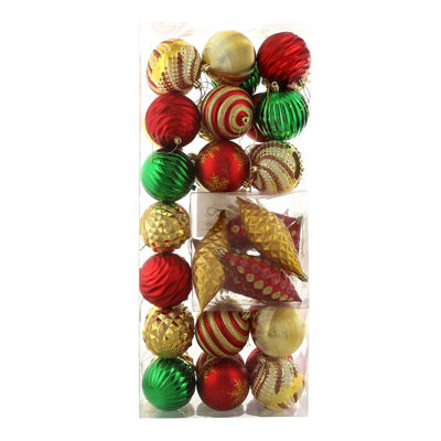 Red Gold and Green Assorted Ornament Set (42)