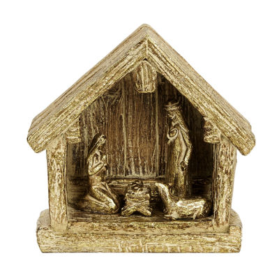 Resin Gold Nativity Creche