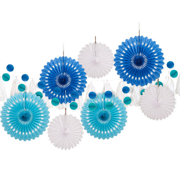 Blue & White 10 pc Paper Decor Kit