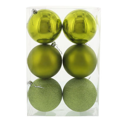Bright Green 120mm Ball Ornament Set (6)