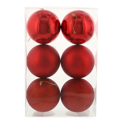 Red 120mm Ball Ornament Set (6)
