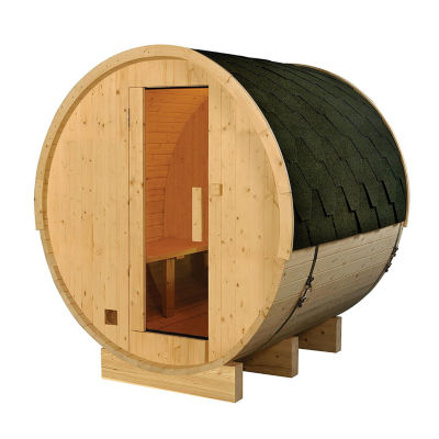 ALEKO 6 Prs Outdoor Indoor Wet Dry Wood Barrel Sauna with Bitumen Roofing and Electrical Heater