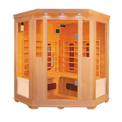 ALEKO 3-4 Person Wood Indoor Dry Infrared Sauna with 2 Carbon Fiber and 6 Ceramic Heaters