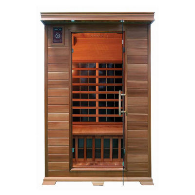 ALEKO 2 Person Indoor Dry Infrared Wood Sauna with 8 Carbon Fiber Heaters