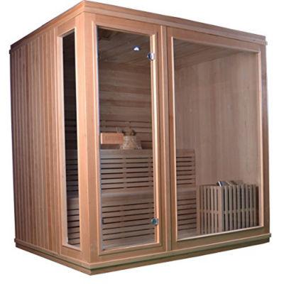 ALEKO 6 Person Wood Indoor Wet Dry Sauna with Electrical Heater