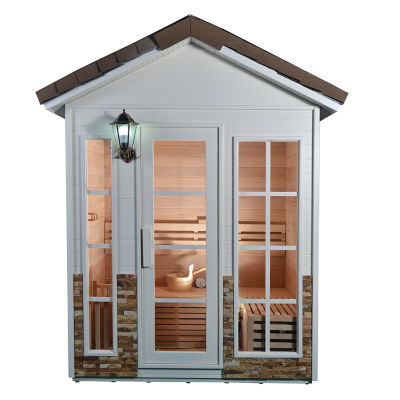 ALEKO 6 Person Wood Outdoor Stone Finish Wet Dry Sauna with Electrical Heater