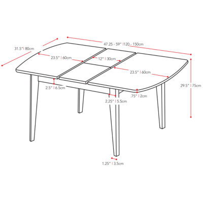 "CorLiving Dillon Extendable Oblong Wood Top Dining Table with 12"" Butterfly Leaf"