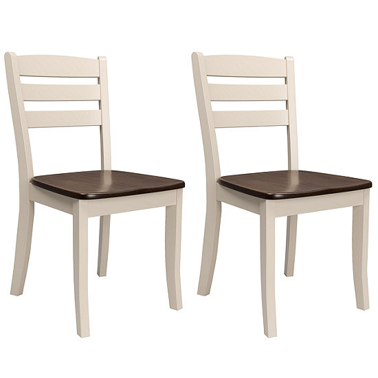 CorLiving Dillon Solid Wood Dining Chairs with Horizontal Slat Backrest, Set of 2