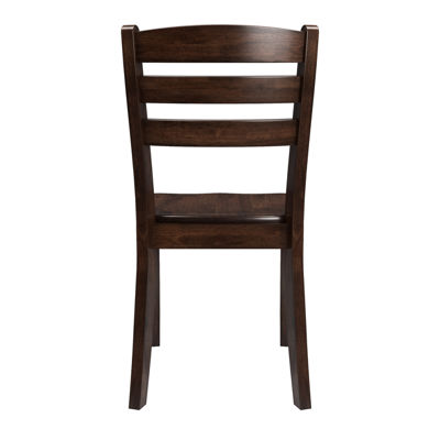 CorLiving Dillon Stained Solid Wood Dining Chairs with Horizontal Slat Backrest, Set of 2