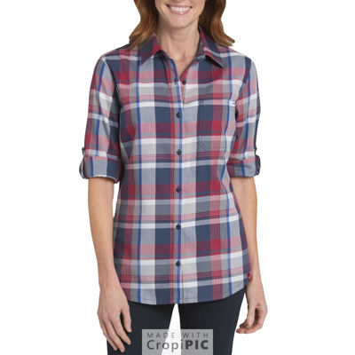 Dickies® Quarter Sleeve Roll-up Plaid Shirt - Plus