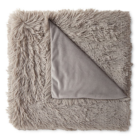 JCPenney Home Shag Knit Midweight Throw, One Size , Gray