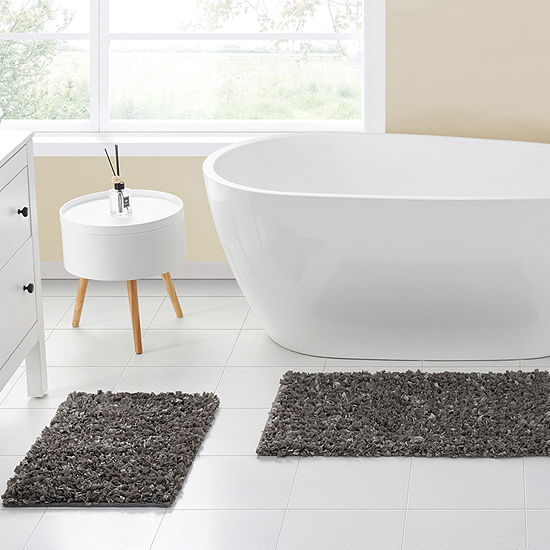 VCNY Glossy Paper Shag 2-pc. Bath Rug Set