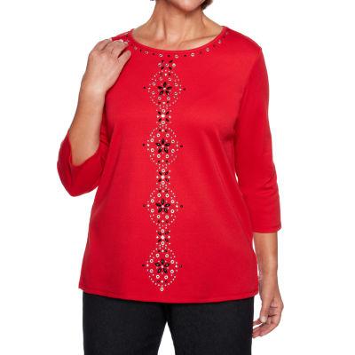 Alfred Dunner Grand Boulevard 3/4 Sleeve Round Neck T-Shirt-Womens