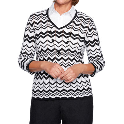 Alfred Dunner Grand Boulevard Womens 3/4 Sleeve Layered Sweaters