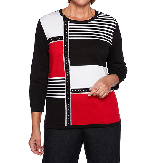 Alfred Dunner Grand Boulevard Womens Crew Neck 3/4 Sleeve Geometric Pullover Sweater