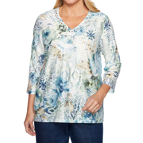 Alfred Dunner Greenwich Hills 3/4 Sleeve V Neck Floral T-Shirt-Womens