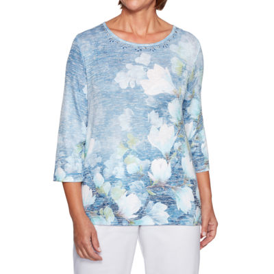 Alfred Dunner Greenwich Hills 3/4 Sleeve Round Neck Floral T-Shirt-Womens