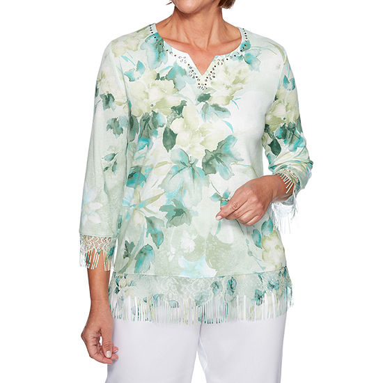 Alfred Dunner Greenwich Hills Split Crew Neck 3 4 Sleeve Floral Pullover Sweater