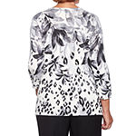 Alfred Dunner Finishing Touch Womens Crew Neck 3/4 Sleeve Animal Pullover Sweater