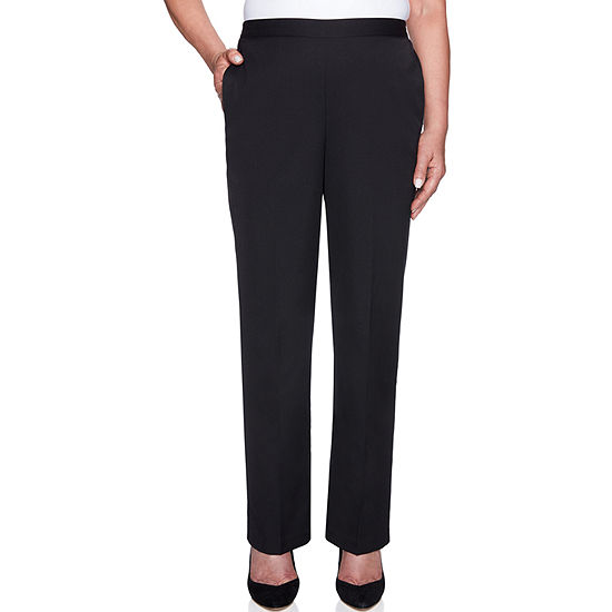 Alfred Dunner Finishing Touch Womens High Waisted Straight Pull-On Pants