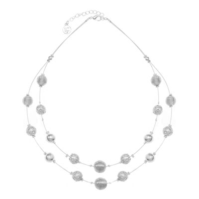 Liz Claiborne Womens Clear Round Illusion Necklace