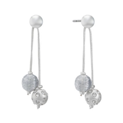 Liz Claiborne Clear Round Drop Earrings