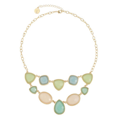 Liz Claiborne Womens Accent Multi Color Statement Necklace