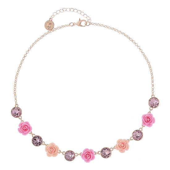 Liz Claiborne Womens Pink Flower Collar Necklace