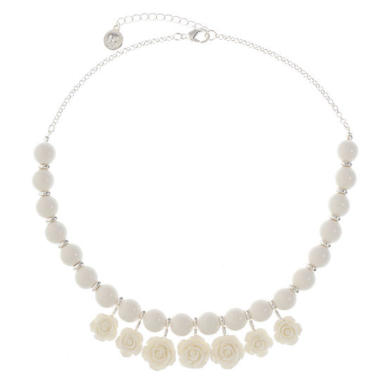 Liz Claiborne 18 Inch Cable Flower Collar Necklace