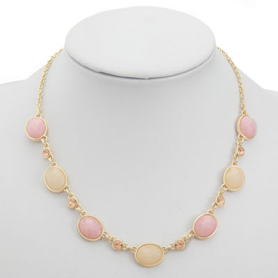 Liz Claiborne Womens Pink Oval Collar Necklace