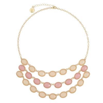 Liz Claiborne Womens Pink Oval Statement Necklace