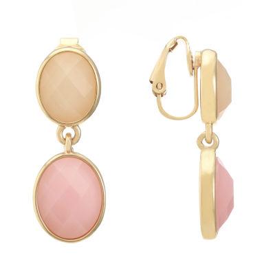 Liz Claiborne Pink Oval Clip On Earrings