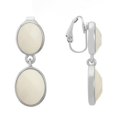 Liz Claiborne White Oval Clip On Earrings